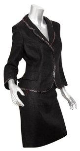 Alexander McQueen Alexander Mcqueen Womens Black Linen Cotton Jacket Blazerpencil Skirt Suit 404