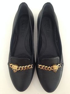 Alexander McQueen Leather Knuckle Chain K Black Flats