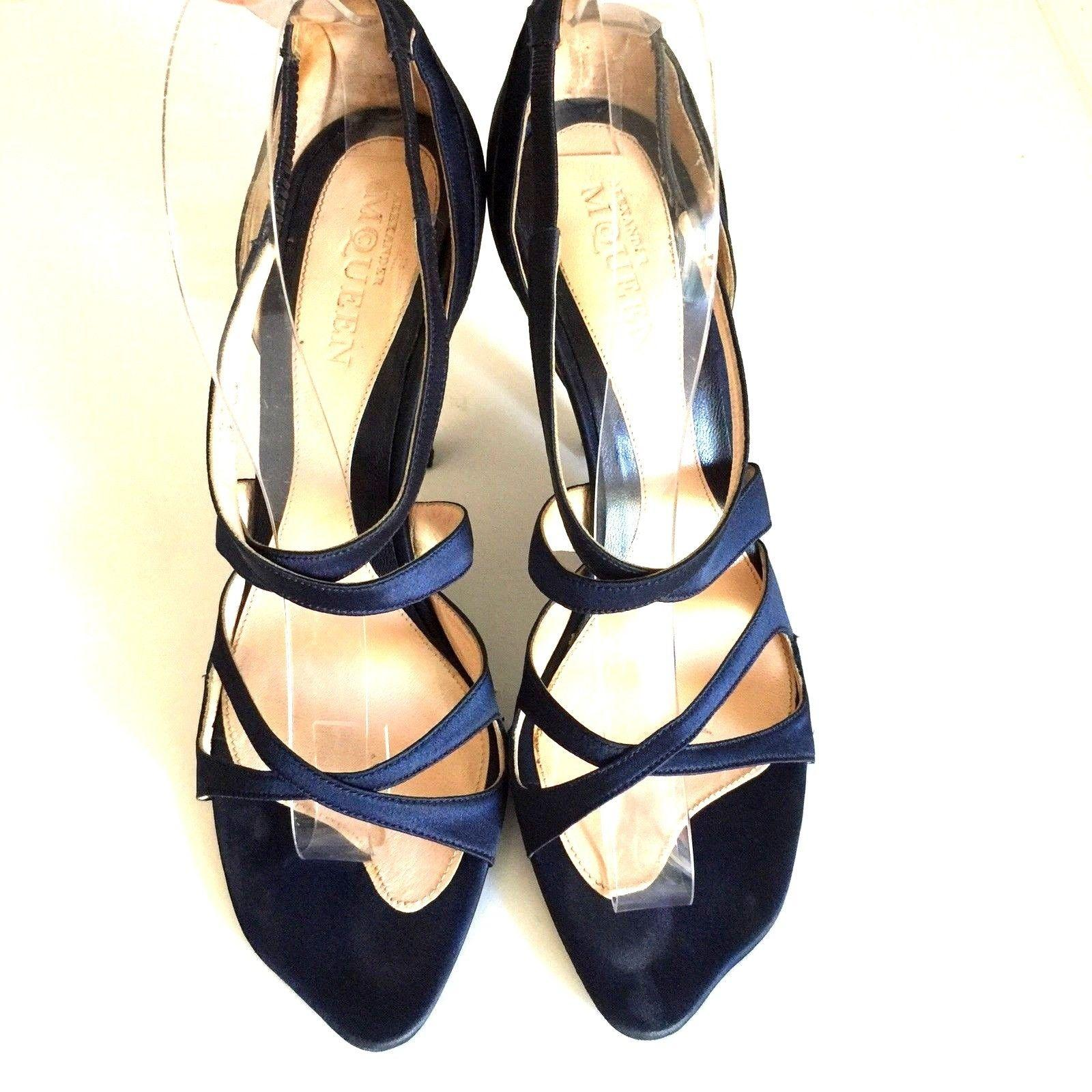 4e24450cfc73 ... Alexander McQueen Blue Strappy Satin Open Toe Criss Cross Cross Cross  Curved Heel Sandals Size US ...