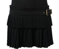 Alexander McQueen Pleated Accordion Belt Italy Skirt Black
