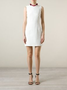 Alexander McQueen Mini Robe Sleeveless Embellished Collar Silk 4610 Dress