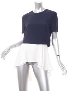 Alexander McQueen Navywhite Colorblock Layered Tunic 426 Top Blue