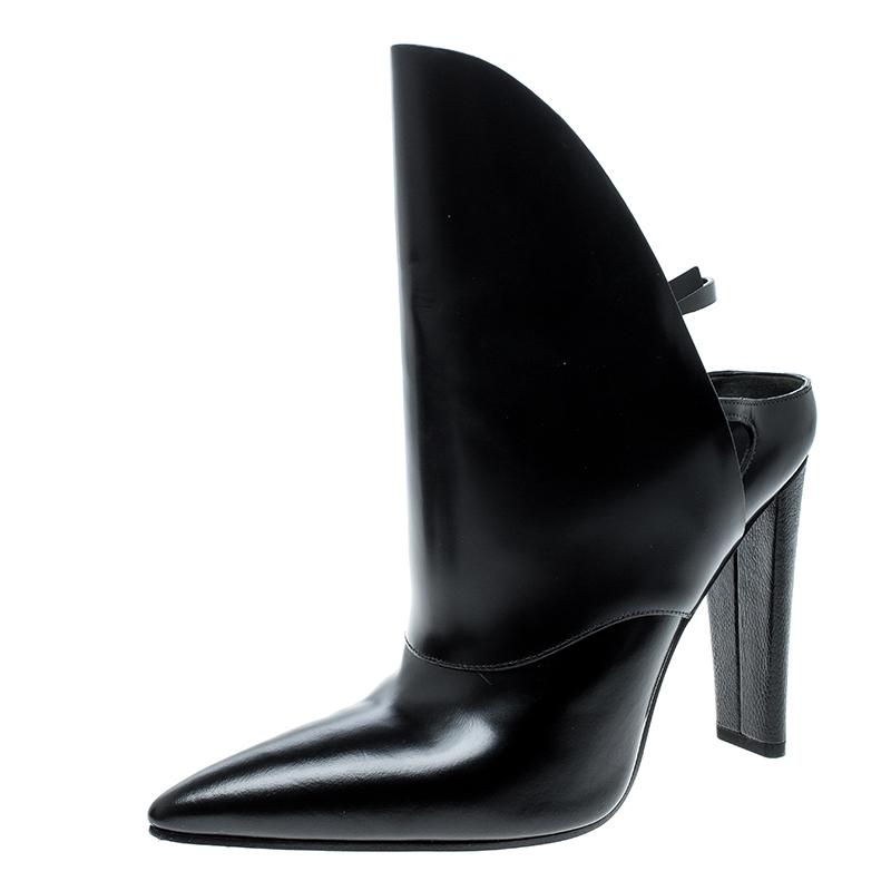 Alexander Wang Black Leather Lys High Cut Pointed Toe Boots/Booties Size EU 40 (Approx. US 10) Regular (M, B)