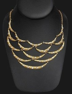 Alexis Bittar Alexis Bittar Gold W Crystal Adornments Statement Bib Occasion Necklace Hso73