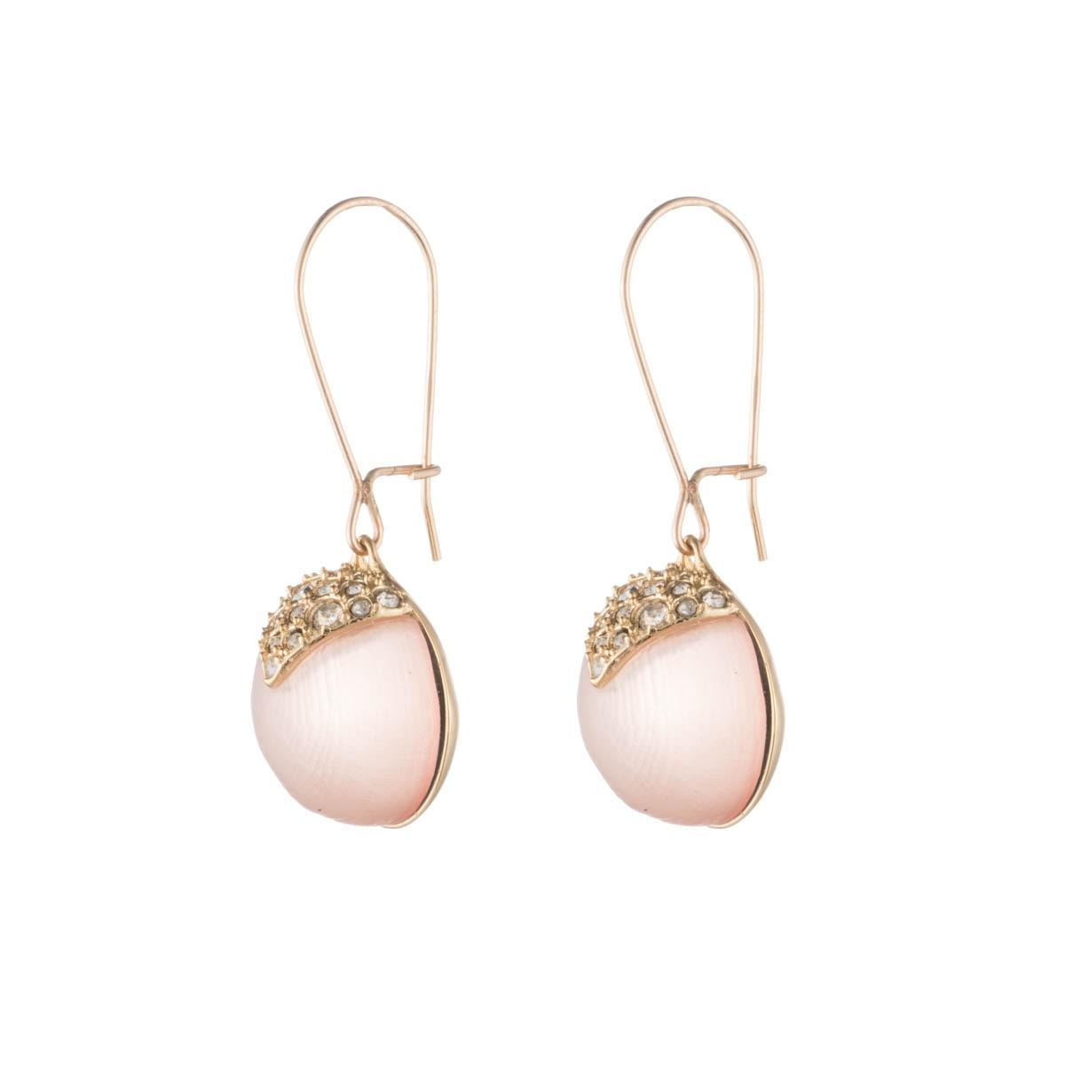 Alexis Bittar Crystal Encrusted Pearl Hoop Wire Earring Sunset V9FR18vc