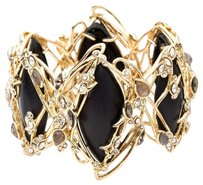 Alexis Bittar NEW! ALEXIS BITTAR IMPERIAL BLACK LUCITE CRYSTAL LACE HINGED BRACELET