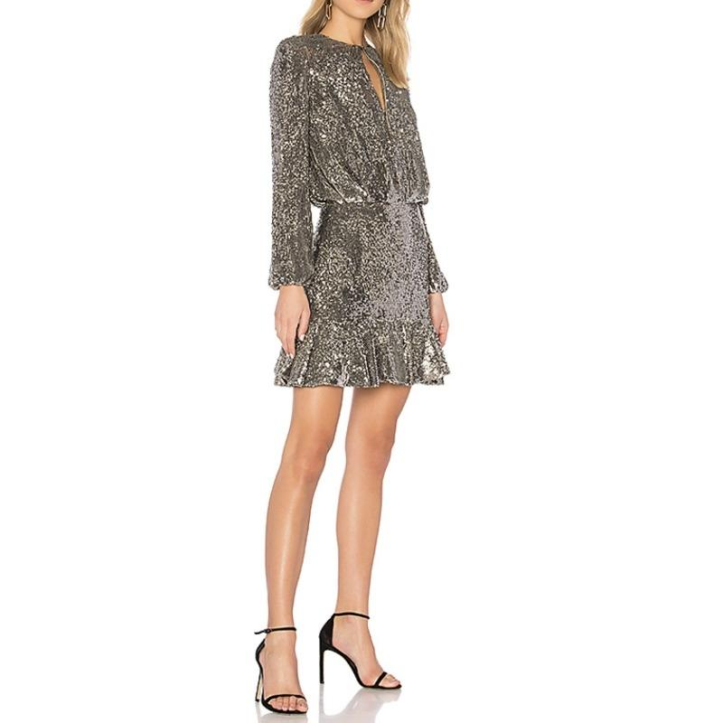 alexis silver sequin tamera short cocktail dress size 0 (xs) - tradesy
