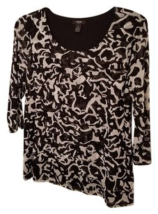 Alfani Layered Front 3/4 Sleeve Top Black and White Print