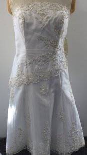 Alfred Angelo Lace Embellished Tea Length Wedding Dress