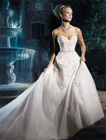 Genial Alfred Angelo White/Silver Shimmer Tulle Disney Princess Cinderella 262  Traditional Wedding Dress Size 14 ...