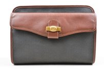 Alfred Dunhill Dunhill Black Brown Leather Canvas Toiletry Bag