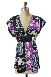 Alice & Trixie Abstract Printed Babydoll Evening Top Multi-Color