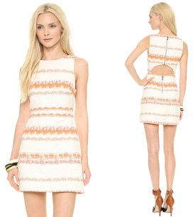 Alice + Olivia short dress Orange, White Boatneck Tweed Stripe Cut Out Mini on Tradesy