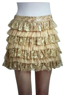 Alice + Olivia Metallic Gold Designer Blush Mini Skirt Nude-Blush /Gold