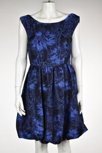 Alice + Olivia Womens Blue Black Sheath Floral Above Knee Dress
