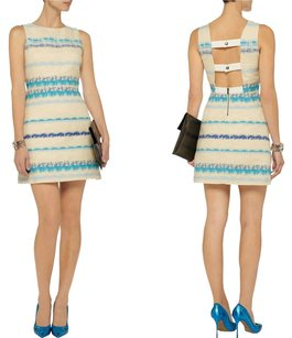 Alice + Olivia short dress Blue, White Stripe Tweed Cut Out Mini Sleeveless on Tradesy
