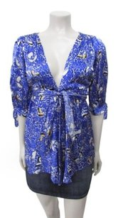 Amanda Uprichard Printed Silk Cold Blue Top Multi-Color