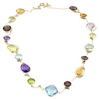amazinite 14K Gold Station Necklace With Multi Color Gemstones By The Yard 36