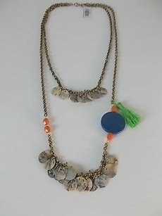 American Eagle Outfitters American Eagle Outfitters Aeo Blue Disc Green Fringe Brass Layer Necklace