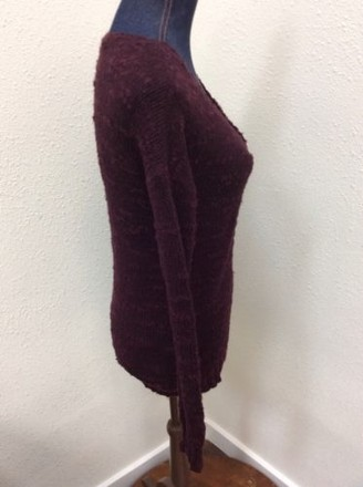 American Eagle Outfitters Sweater Womens Deep Purple V-neck Nubby Knit 70%OFF