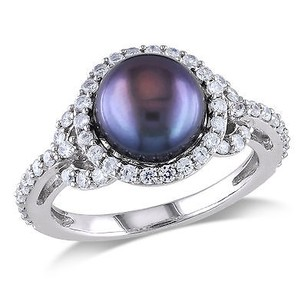Amour 1 Ct White Cubic Zirconia - Mm Black Freshwater Pearl Fashion Ring Silver