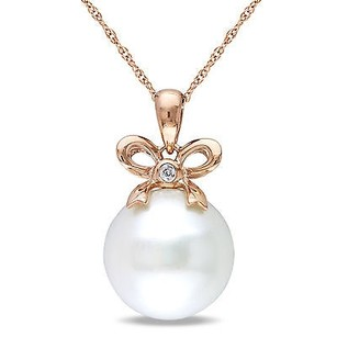 Amour 10k Pink Gold Freshwater Pearl And Diamond Accent Pendant Necklace G-h I1-i2 17