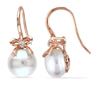 Amour 10k Rose Pink Gold Cultured Freshwater Pearl And Diamond Earrings G-h I1-i2