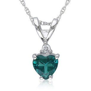 Amour 10k White Gold Diamond And 12 Ct Simulated Emerald Heart Love Pendant Necklace