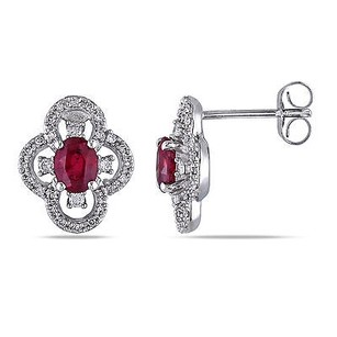 Amour 10k White Gold Ruby And 14 Ct Tdw Diamond Stud Earrings G-h I1-i2