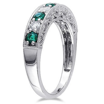 Amour 10k White Gold Simulated Emerald White Sapphire Anniversary Eternity Ring