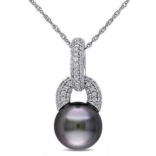 Amour 10k White Gold Tahitian Pearl 15 Ct Tw Diamond Pendant Necklace 8-9 Mm 17