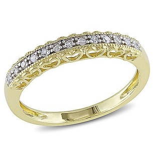 Amour 10k Yellow Gold 110 Ct Diamond Vintage Stackable Heart Wedding Band Ring