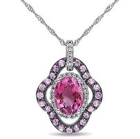 Amour 14k Gold Pink Tourmaline Sapphire 16 Ct Tw Diamond Halo Pendant Si1-si2 17