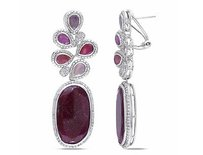 Amour 14k Gold Sapphire And 34 Ct Tdw Diamond Earrings G-h Si1-si2