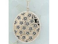 Amour 14k Pink Gold 78 Ct Tw Black White Diamond Pendant Necklace G-h Si1-si2 17