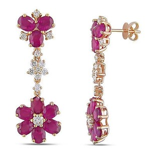 Amour 14k Pink Gold Sapphire And 1 Ct Tdw Diamond Earrings G-h Si1