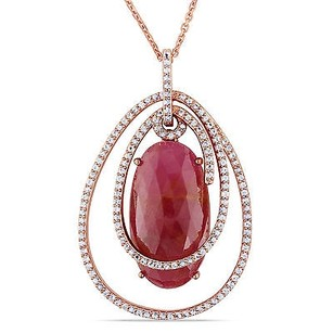 Amour 14k Rose Gold Ct Tgw Pink And White Sapphire Pendant Necklace 17