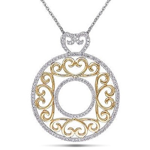 Amour 14k Two-tone Gold 34 Ct Tw Filigree Diamond Circle Pendant Necklace Gh I2 17