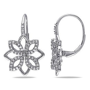 Amour 14k White Gold 12 Ct Tdw Diamond Flower Dangle Leverback Earrings G-h I1-i2