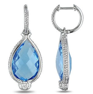 Amour 14k White Gold 45 Ct Tgw Swiss Blue Topaz 1 110 Ct Tdw Earrings G-h Si