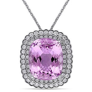 Amour 14k White Gold Kunzite And 1 78 Ct Tdw Diamond Pendant Necklace G-h Si1-si2 17