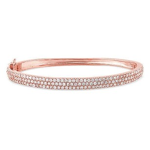 Amour 18k Pink Gold Over Sterling Silver 5ct Tgw Cubic Zirconia Bangle Bracelet 7.25