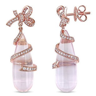 Amour 18k Rose Pink Gold 12 Ct Tgw Rose Quartz 13 Ct Tdw Diamond Earrings G-h Si1