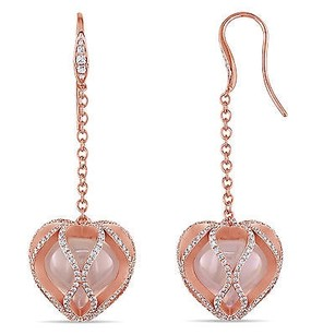 Amour 18k Rose Pink Gold Rose Quartz And 38 Ct Tdw Diamond Earrings G-h Vs1-vs2