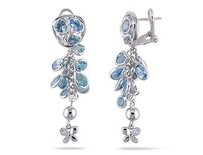 Amour 18k White Gold Blue Topaz And Diamond Dangle Earrings