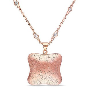 Amour 18k Yellow Gold Plated Rosetone 78 Ct Tgw Cubic Zirconia Pendant Necklace 16