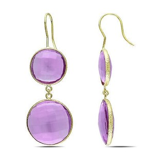 Amour 22k Yellow Gold Plated Goldtone Ct Tgw Synthetic Amethyst Hook Earrings