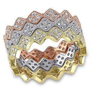 Amour 3-tone Sterling Silver 110 Ct Tgw Cubic Zirconia Zig Zag Stackable Ring Set