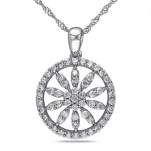 Amour Amour 10k White Gold 12 Ct Tdw Diamond Flower Pendant Necklace H-i I2-i3 17