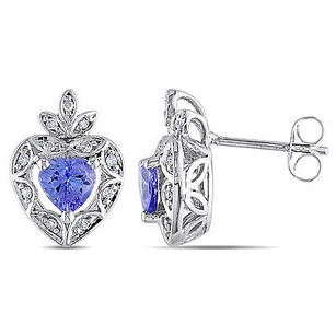 Amour Amour 10k White Gold 45 Ct Tgw Tanzanite 110 Tdw Stud Earrings H-i I2
